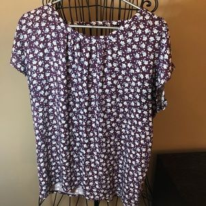 Loft purple blouse w/ flowers